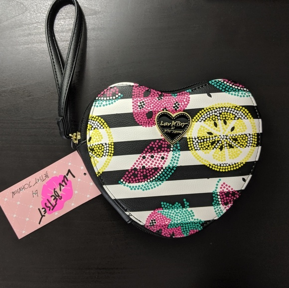 Betsey Johnson Handbags - Luv Betsey Heart Shaped Striped Coin Purse